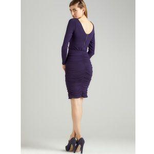 Green Envelope Purple Ruched Long Sleeve Dress